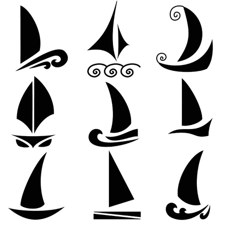 Set silhouettes of ships Vector