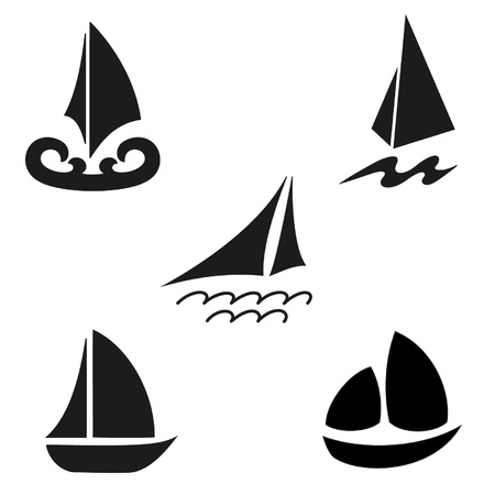 Set silhouettes of ships