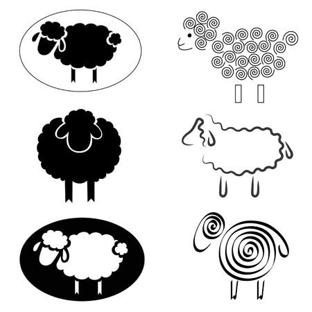 oveja negra: siluetas negras de ovejas sobre un fondo blanco Vectores