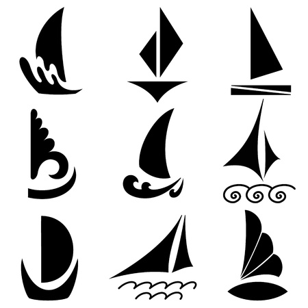 Silhouettes of ships Vector
