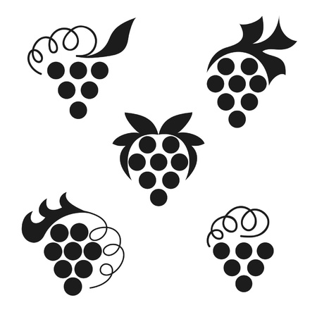 wine and grapes: black emblems of grapes on a white background