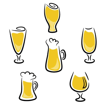 beer tap: Set of the Stylized glasses with beer on a white background