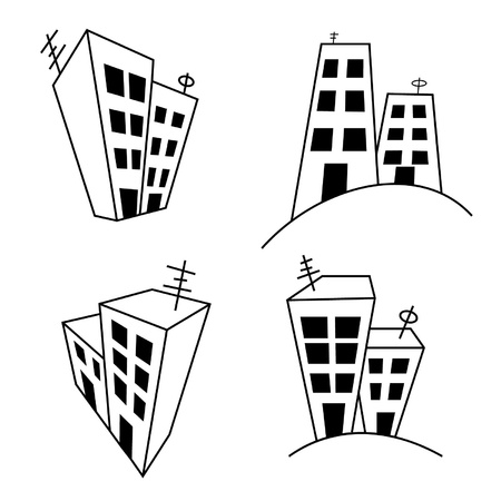 the stylized multi-storey buildings on a white background Vector