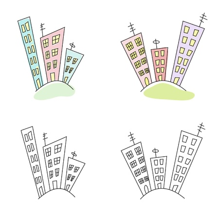 the stylized multi-storey buildings on a white background Stock Vector - 14822251