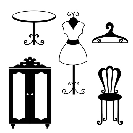 antique furniture: Antique furniture silhouettes