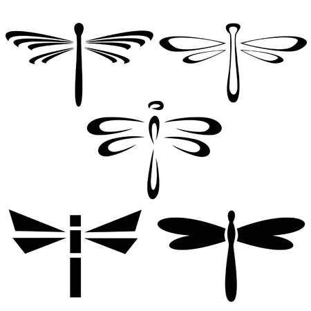 dragonfly wing: Set of silhouettes of dragonflies