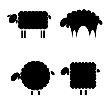 baa: black silhouettes of sheep on a white background Illustration