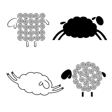 black silhouettes of sheep on a white background Illustration