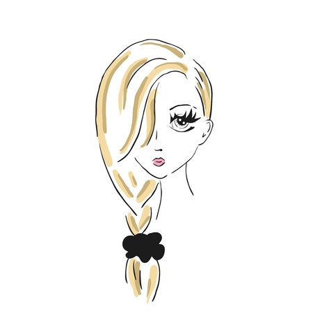 blonde teenage girl: A sketch of the girl with a bow on a hair
