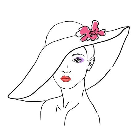花と帽子の女性のスケッチ  イラスト・ベクター素材