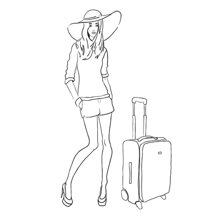 Vector sketch fashion woman with bag Ilustrace