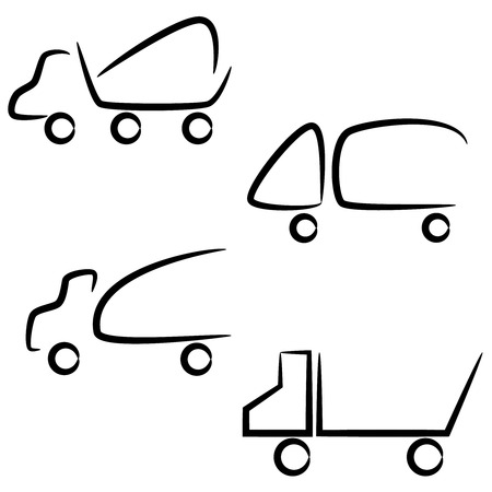 tow tractor: Trucks icons set. Vector silhouettes of vehicles