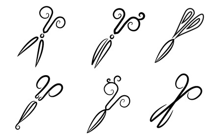 はさみ。様式化。シンボルです。  イラスト・ベクター素材