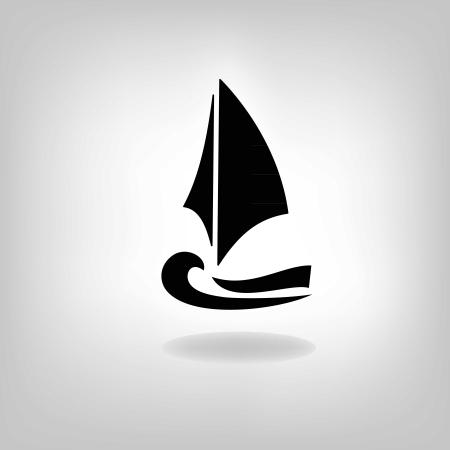 sailing vessel: la nave estilizada, el barco, barco de vela sobre un fondo claro