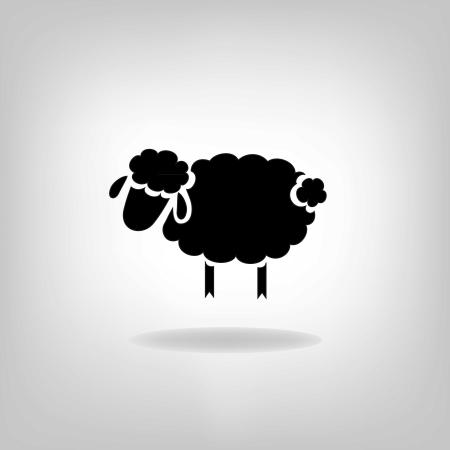 zwart silhouet van schapen op een lichte achtergrond Stock Illustratie