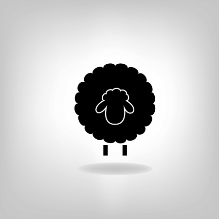 black silhouette of sheep on a light background Ilustração