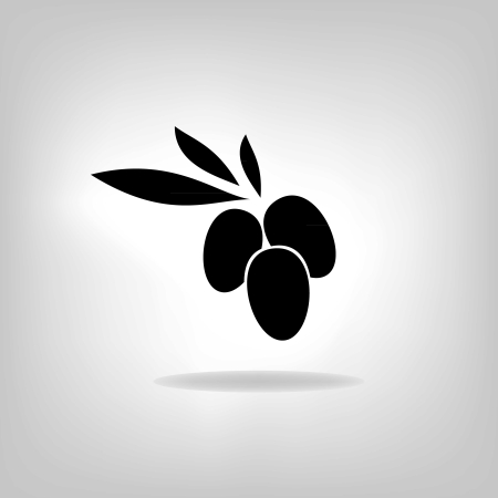 olive with leaves, vector label Vector