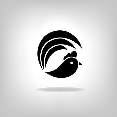 rooster at dawn: I galli stilizzati neri su sfondo bianco Vettoriali