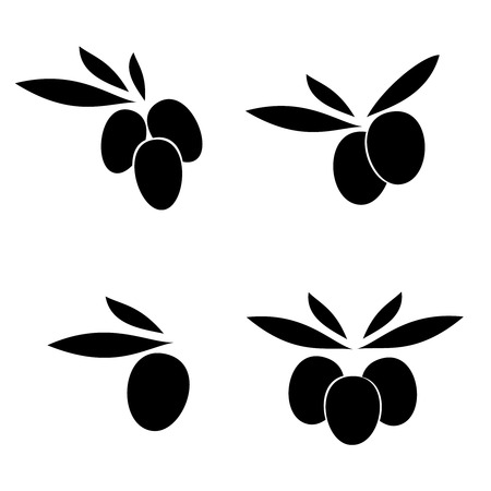 olive with leaves, vector label