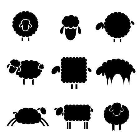 mouton cartoon: silhouette noire de moutons sur un fond clair Illustration