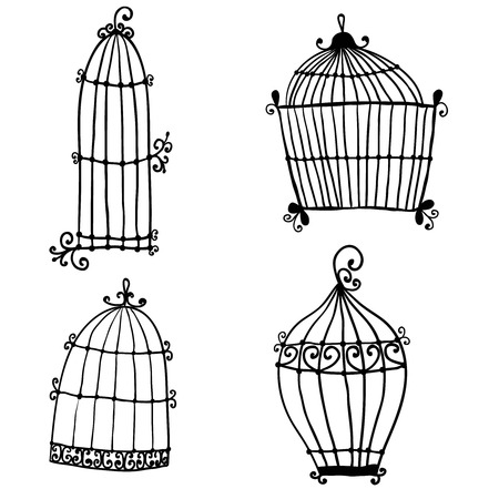 Set of doodle cages for birds Vector