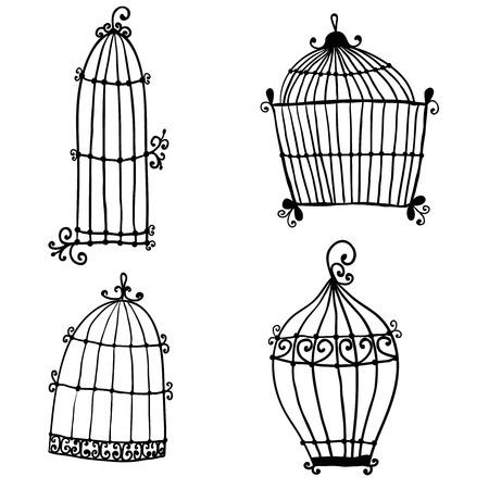 cage birds: Set of doodle cages for birds Illustration