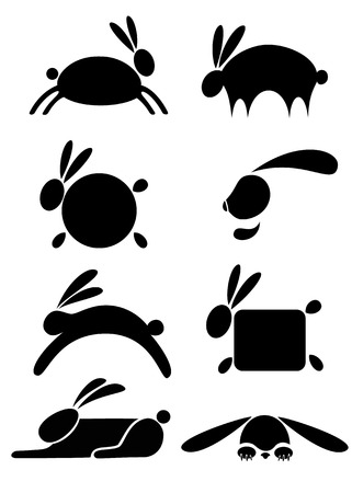 silhouette lapin: la silhouette stylis�e noir d'un lapin, li�vre