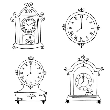 Old vintage clock, hand drawn Vector