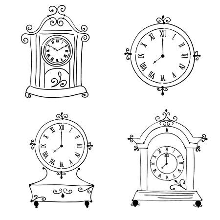 Old vintage clock, hand drawn