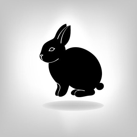 sit shape: the black stylized silhouette of a rabbit, hare