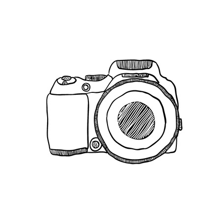 the sketch of a photo camera drawn by hand on a white background Vector