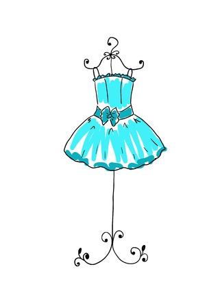 herrlichen blauen Kleid auf einem Bügel
