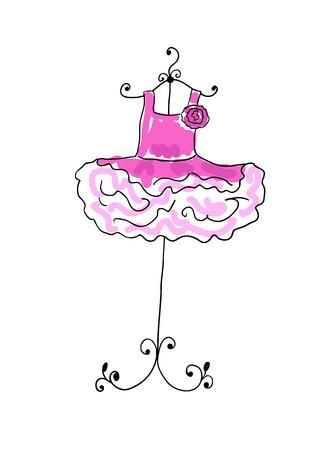 ハンガーにかけた flounces と壮大なピンクのドレス