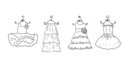 four different dresses on hangers Vector