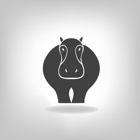 nile river: emblem of a hippopotamus on a light background