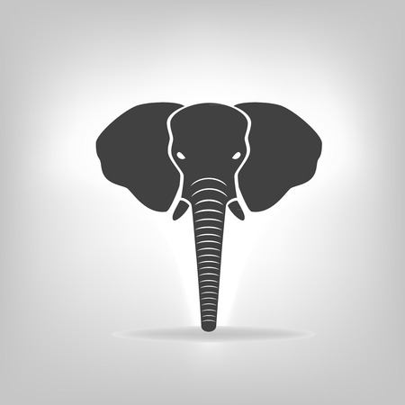 elephant trunk: gray emblem of an elephant on a light background