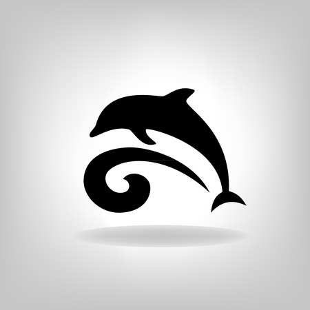 marina life: Emblem of a dolphin over the sea on a light background Illustration