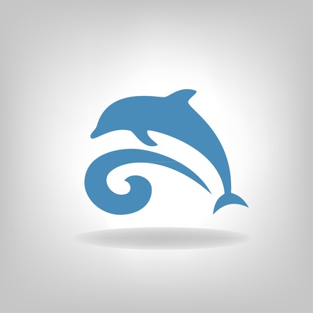 Emblem of a dolphin over the sea on a light background Illustration