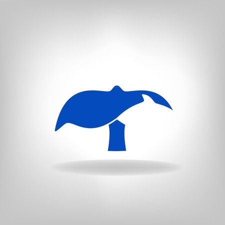 marina life: emblem a tail of a whale on a light background Illustration