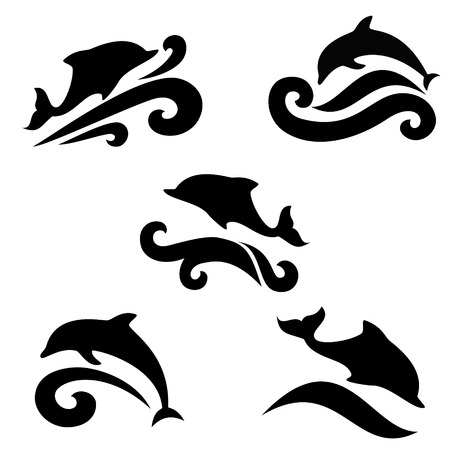 Emblem of a dolphin over the sea on a light background  Vector