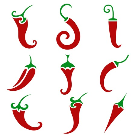 cayenne pepper: Hot chili pepper vector set isolated on white background