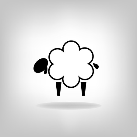 baa: black silhouettes of sheep on a white background
