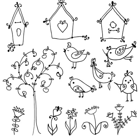 set of cute cartoon birds, tree and and bird  nesting boxes Vector