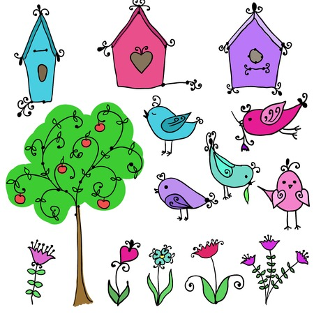 set of cute cartoon birds, tree and and birds nesting boxes