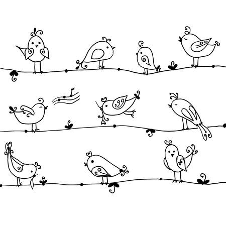 벡터 만화 컬렉션에서 귀여운 새의 설정 일러스트