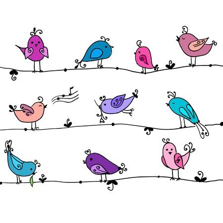 ベクトル漫画コレクションでかわいい鳥のセット