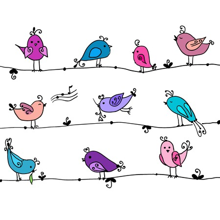Set of cute birds in vector  Cartoon collection