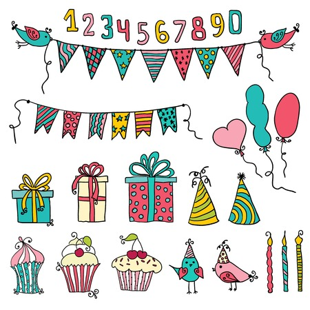 party animal: Set of vector birthday party elements  Illustration