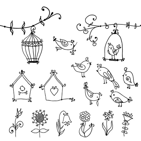 set of cute birds, tree and bird s nesting boxes Vector