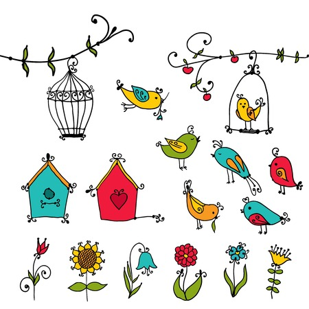 set of cute birds, tree and birds nesting boxes Vector